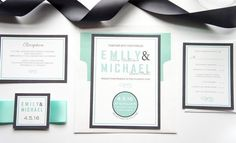 Mint Wedding Invitation - DEPOSIT Rockwell Catering and Events