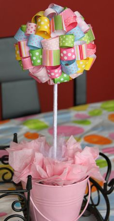 For Easter! Ribbon Topiary in Pink Yellow Green Blue Green. Want to make this! Cute baby shower decor