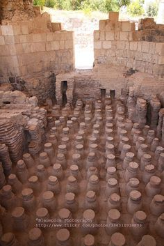 Roman floor heating system, Beit Shean, Israel. A walk through Beit She'an, one of the most ancient cities in the country, is like a walk through time: archaeological sites are scattered throughout the modern city.