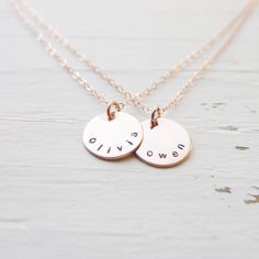 Rose Gold Name Necklace Layered Necklace Double Chain Necklaces Personalized Necklace 2 Initial Monogram Necklace Two Names Gifts for Her