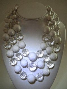 CORO 3 Strand White Necklace Faceted Clear & by RenaissanceFair