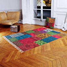 Tapis imprimé 100% coton carreaux patchwork motifs et couleurs ANTALIA