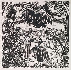 ERNST LUDWIG KIRCHNER|German, 1880–1938br /emBathing Scene Under Overhanging Trees/em, 1913br /Woodcutbr /16 3/16 x 15 ⅛ inchesbr /Mills College Art Museum, Susan L. Mills Fund, 1957.15
