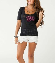 Metal Mulisha Maidens ROULETTE Scoop Neck Black Burnout Cotton Graphic T-shirt  #MetalMulisha #KnitTop #Casual