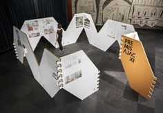 Pol Viladoms · AJAC XI Awards traveling exhibition – Our Ihmevision – Exhibition Stand Museum Exhibition Design, Exhibition Display, Exhibition Space, Design Museum, Exposition Interactive, Interactive Exhibition, Displays, Graphic Design Inspiration, Icon Design