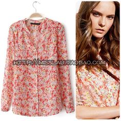 The new spring and summer 2013 European and American lady floral printed fashion chiffon v-neck shirt of cultivate one's morality