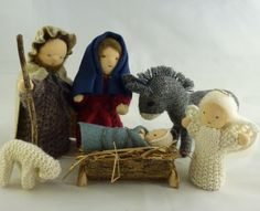 Knitting Pattern - Nativity Characters. Joseph, Mary, baby, angel, donkey and lamb. Delightful figures with doll heads. Instant Download.