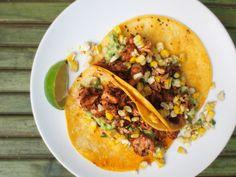 blackened salmon tacos with jalepeno corn salsa