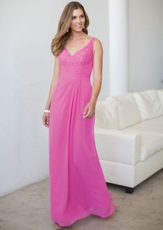 US$128.99 Wholesale 2015 A-line Lace V-neck Top Pink Floor Length Bridesmaid Dress colour kenneth winston 5172 from - US.homecomingnightgirl.com