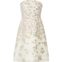 Lela Rose Metallic fil coupé mini dress (€1.635) ❤ liked on Polyvore featuring dresses, short dresses, cocktail dresses, robes, white, short white cocktail dress, embellished cocktail dress, white evening dresses and white dress