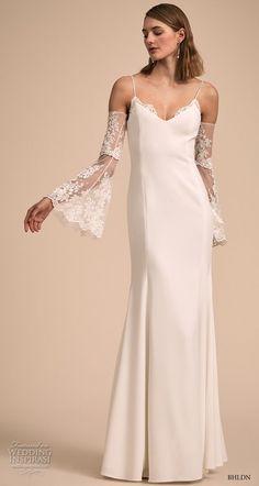 bhldn 2018 bridal cold shoulder long lantern sleeves spaghetti strap diamond neckline simple clean elegant sheath wedding dress scoop back sweep train (12) mv