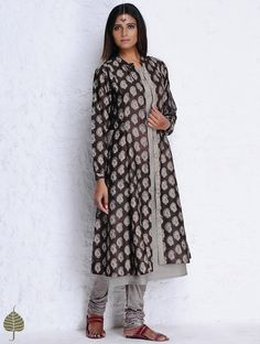 Buy Brown Grey Block Printed Chanderi Jacket with pockets by Jaypore Cotton Silk Apparel Jackets Crafted Impressions Prints Online at Jaypore.com