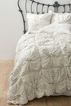 Rosette puckers with script Bedding, Anthropologie
