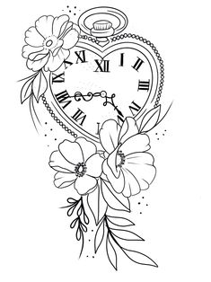 Family Tattoo Designs, Family Tattoos, Flower Tattoo Designs, Flower Tattoos, Clock Drawings, Art Drawings Sketches, Tattoo Drawings, Adult Coloring Pages, Coloring Books
