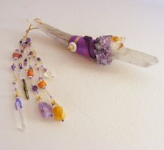 GODDESS OF POSITIVITY magic Crystal Wand with triple point Quartz Crystal, Citrine, Amethyst, Deer antler