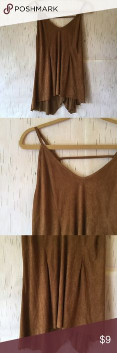 Brown faux suede tunic Brown tunic. Faux suede. Cute for a boho outfit! Asymmetrical hemline. Tops Tank Tops