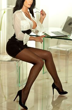 Black Leather Pencil Skirt Black Leather Corset White Blouse Sheer Black Pantyhose and Black Stiletto High Heels
