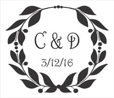 Custom Monogram Wreath- **Stencil** -  8 size options-  Letters A-Z- Create Custom Pillows and Custom Signs with our STENCIL!