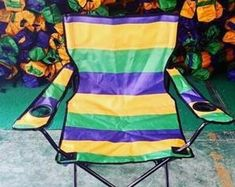 Items similar to Mardi Gras Shoes / Sneakers on Etsy Striped Chair, Mardi Gras Parade, Festival Camping, Oxford Fabric, Butterfly Chair, Gold Stripes, Green And Gold, Classic, Handmade