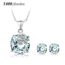 925 Sterling Silver Jewelry Sets,made with Swarovski Elements Crystal,Necklace and Earrings Set,for women,Star #S010