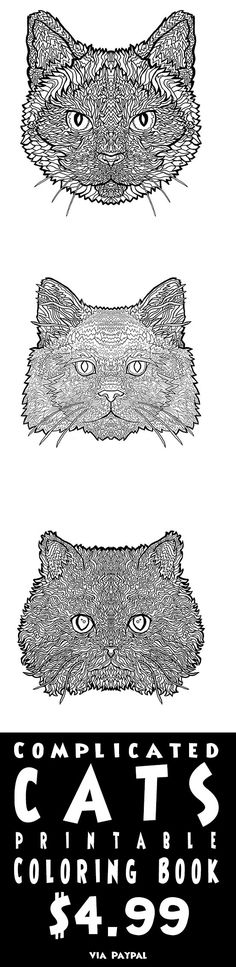 Cat lover coloring!  25 breeds of Complicated Cat to Print-out and Color  #Cats