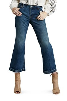 "Free People Jeans ""Kick Flare Chelsea"", style Denim cropped pants in flared cut, frayed hem, cotton Free People Clothing, Free People Jeans, Chelsea Blue, Kick Flare Jeans, Slide, Pants For Women, Clothes For Women, Cropped Jeans, Denim Jeans"