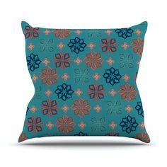 "Jolene Heckman ""Turquoise Mini"" Teal Flowers Throw Pillow"