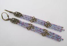 Seed Bead Dangle Earrings - Purple by pattimacs on Etsy