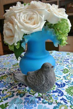 Bird themed baby shower. Aqua ruffled vase  livingwithcolordesigns.com