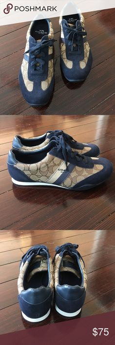 Coach Sneakers Brand new never worn.  Gorgeous Navy Suede trim with classic monogram Coach siding. Coach Shoes Sneakers