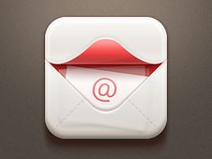 Great use of implied movement and color contrast. This simple color scheme allows the logo to be highlighted. Moreover, the shading adds to the opening feel of the design. This is both realistic and simple. Web Design, App Icon Design, Launcher Icon, Email Icon, Android Icons, Photoshop Logo, 3d Icons, Screen Icon, Mobile Icon