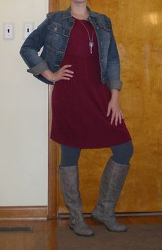 The Lazy Girl Blog: fall or winter outfit - sweaterdress, denim jacket, tights, boots