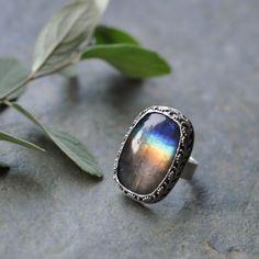 Sterling Labradorite Ring Oxidised Metalwork by christinewalsh