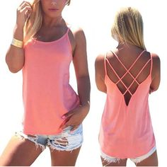 df133a4a3a6 Women Sexy Sleeveless Tank T shirt Crop Top Tee O-neck Bandage Backless  Spaghetti T Shirt cropped feminino Summer Solid Camisole