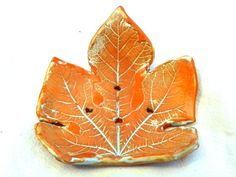 Soap dish  fig leaf imprint on a Candle holder  by PotterPainter
