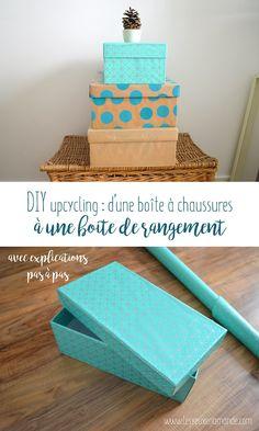 box shoe-storage-diy by elianeslb Baby Shoe Storage, Craft Storage, Diy Gift Box, Diy Box, Diy Rangement, Diy Organisation, Paper Gift Bags, Shoe Box, Diy For Kids