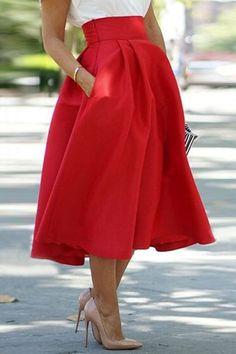 Noble Red High Waist Pleated Ball Skirt For Women