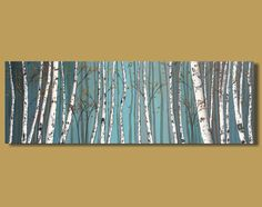 abstract painting of birch trees panoramic by SageMountainStudio