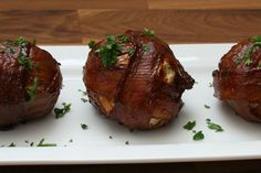 A bacon meatball onion bomb that is both sweet and savory!