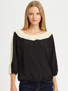 Beyond Vintage - Crochet-Trim Blouse - Saks.com going to try making this myself. Beautiful