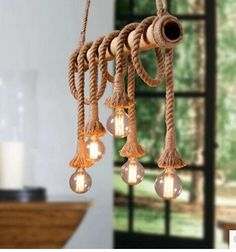 Vintage Hemp rope Pendant Lamp Retro Countryside wicker Pendant Lights With 6Lights For Dinning Room,Living Room