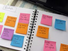 This is a great way to organize a TO DO list. Each item is on a separate post it.  Day of the week is at the top of the page.  Toss completed ones.  Move unfinished ones to the next day's page.  by Jen Hewett: MSEL:
