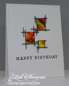 handmade birthday card from Stamping with Loll . artsy look with a clean and simple layout . sticks die cut frame with bright and beautiful squares of alcohol ink art . Birthday Greetings For Men, Birthday Cards For Son, Homemade Birthday Cards, Homemade Cards, Car Birthday, Sons Birthday, Birthday Parties, Watercolor Birthday Cards, Watercolor Cards