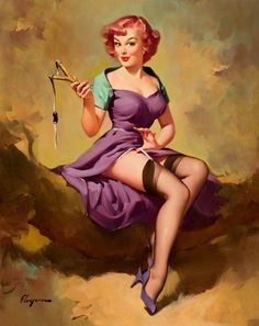 "Vintage Pin Up Girl Art | ... Art Reprodn Applique Vintage Sexy Pin-up Girl Gil Elvgren ""It's a snap"