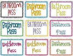 restroom pass template