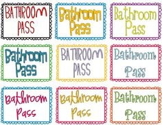 Free labels for hand sanitizer bathroom passes