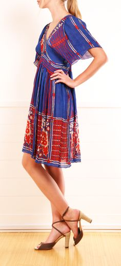 Anna Sui Border Print Silk Dress.