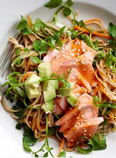 SALMON FILLET with SOBA, AVOCADO & WATERCRESS SALAD [foodtolove]