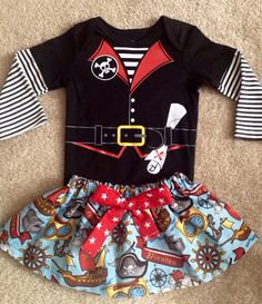 Pirate costume Skirt dress up Halloween red stripe black Pirate Sash carnival circus clown baby Girls Size Newborn 0-3 3-6 6-9 12 24 months