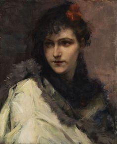 Charles Hermans (1839-1924), Portrait d'une Jeune Dame.